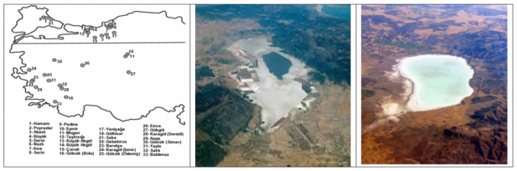 Fig.1: Left: Freshwater lakes sampled in Turkey by METU. Mid and right two saline lakes (Acıgöl and Palas Tuzla) subjected to strong additional salinization due to water abstraction and climate warming.